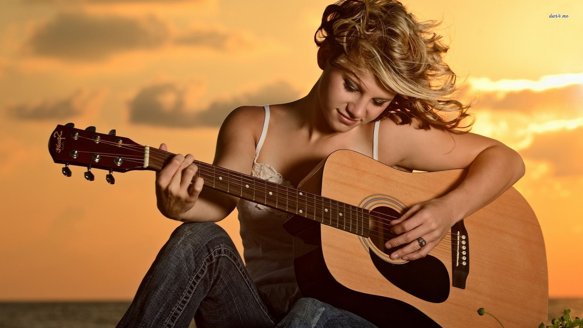 девушки гитара улыбка  № 465373  скачать